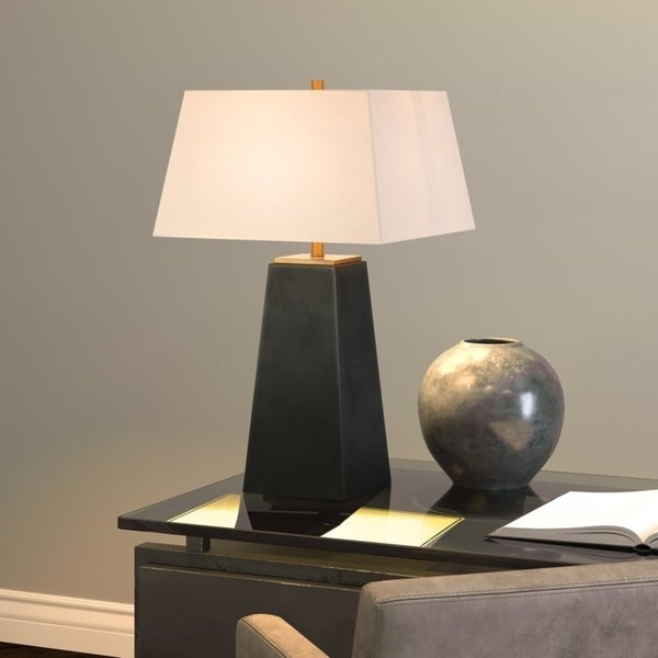 Mixon Sculptural Table Lamp in Blackened Bronze with Linen Shade