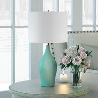 Niklas Ceramic Table Lamp in Teal Blue & Taupe with Linen Shade