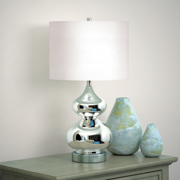 Katrin Glass Double Gourd Table Lamp in Nickel Plated Glass