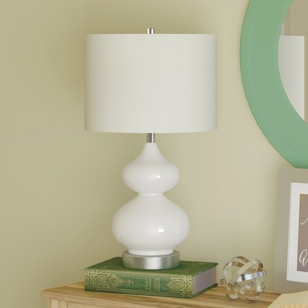 Katrina Glam Double Gourd Table Lamp in White and Silver with Linen Shade