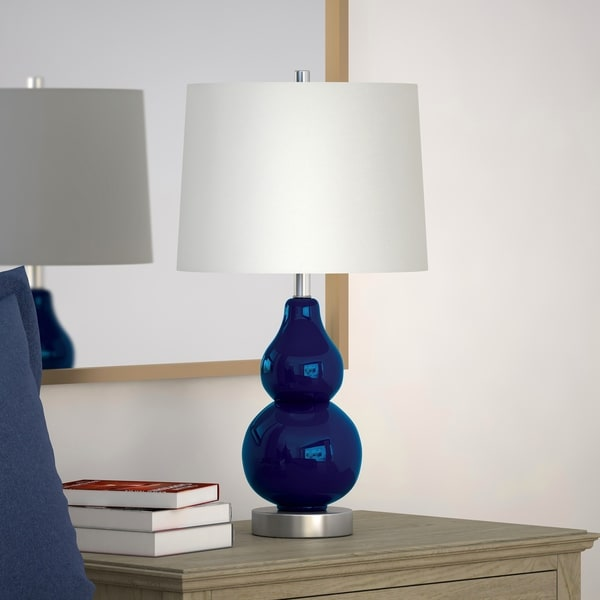 Katrina Petite Double Gourd Table Lamp in Navy Blue