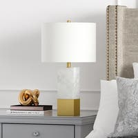 Lena Table Lamp in Carrara Style Marble and Brass with Linen Shade
