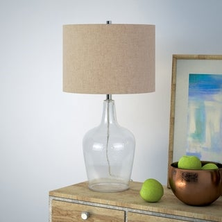 Helix Fillable Table Lamp in Watermarked Glass with Flax Shade