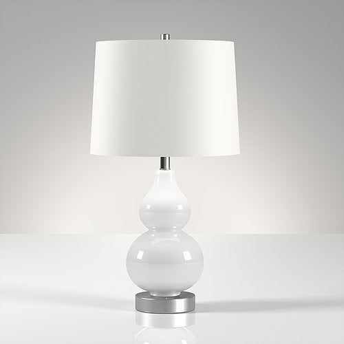 Shop Katrina Petite Double Gourd Table Lamp In White Free Shipping