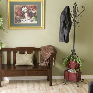 Gracewood Hollow Salinger Black Iron Hall Tree with Rattan Baskets