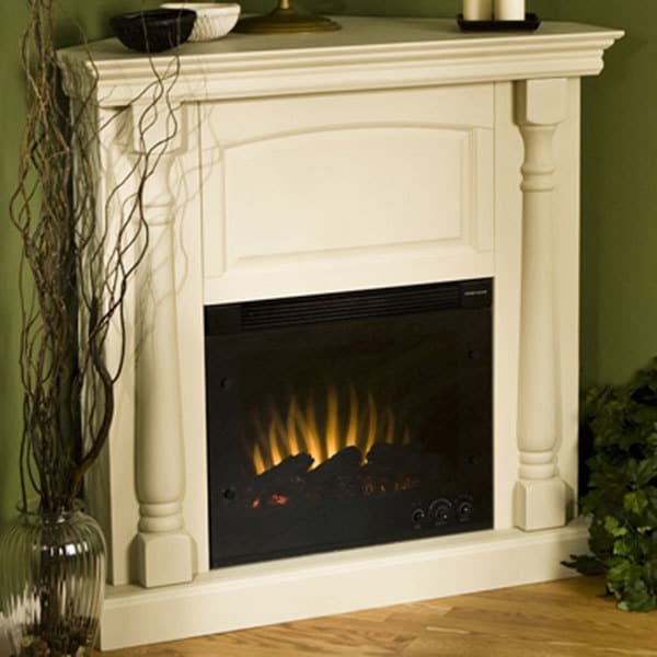 Shop Oxford Antique White Electric Corner Fireplace Free Shipping