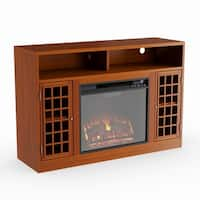Oliver & James Leighton Glazed Pine Media Console Fireplace