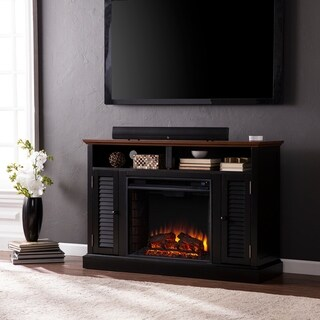 Oliver & James Lely Black Media Console Fireplace