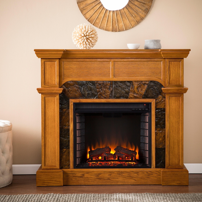 Shop Copper Grove August Oak Corner Electric Fireplace Overstock
