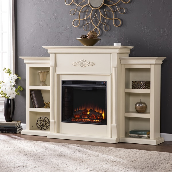 shop gracewood hollow forbes 70 inch ivory electric fireplace free rh overstock com electric fireplaces overstock.com