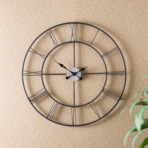 The Gray Barn Sunnybrooke Metal Black Wall Clock
