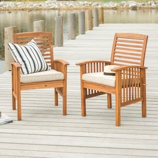 Havenside Home Surfside Acacia Wood Patio Chairs (Set of 2) - 24 x 20 x 37h
