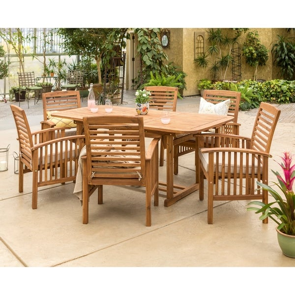 wood patio furniture. The Gray Barn Bluebird 7-piece Acacia Wood Patio Dining Set Furniture