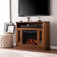 Oliver & James Logar Oak Media Console/ Stand Electric Fireplace