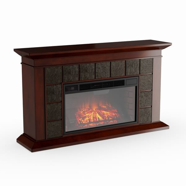 Shop Copper Grove Honor 60 Inch Warm Brown Walnut Electric Fireplace
