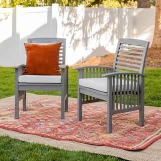 Dark Brown Acacia Wood Chairs (Set of 2)