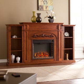 Gracewood Hollow Gogisgi 72-inch Autumn Oak Bookcase Electric Fireplace - N/A