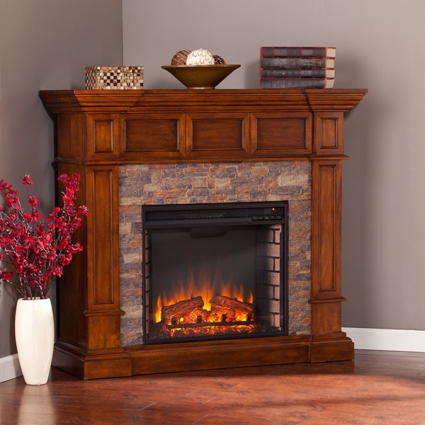 Copper Grove Tanacetum Brown Corner Electric Fireplace - N/A. Opens flyout.