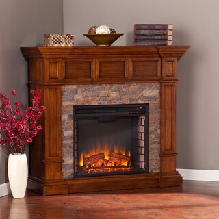 Copper Grove Tanacetum Simulated Stone Convertible Electric Fireplace