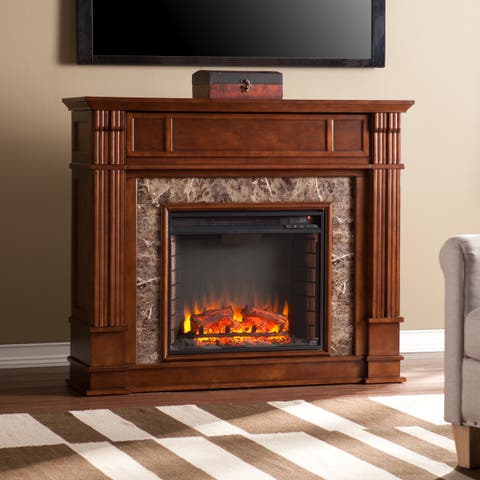 Copper Grove Tantramar Whiskey Maple Faux Stone Electric Media Fireplace