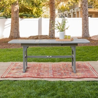 The Gray Barn Bluebird Dark Brown Acacia Wood Outdoor Dining Table