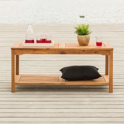 The Gray Barn Bluebird Acacia Wood 50-inch Brown Patio Coffee Table