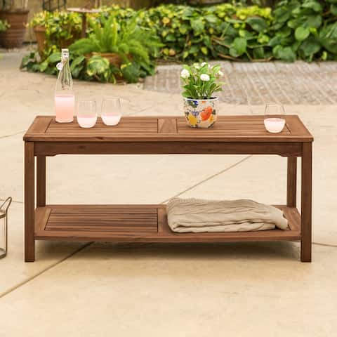 Havenside Home Surfside Acacia Outdoor Coffee Table - Dark Brown - 50 x 20 x 21h