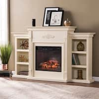 Gracewood Hollow Chuculate Ivory Bookcase Infrared Electric Fireplace