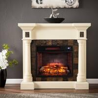 Gracewood Hollow Sunbear Ivory Faux Slate Convertible Infrared Fireplace