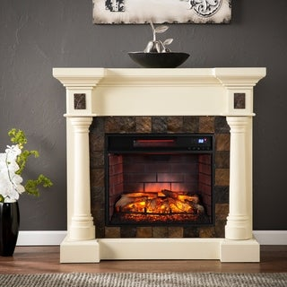 Gracewood Hollow Sunbear Ivory Faux Slate Convertible Infrared Fireplace