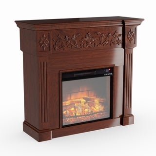 Gracewood Hollow Dove Espresso Carved Infrared Electric Fireplace