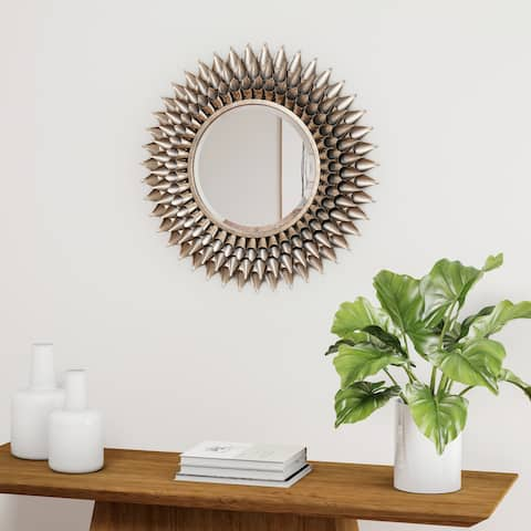Silver Orchid Brian Round Gold Starburst Metal Wall Mirror