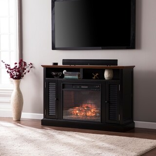 Oliver & James Lely Black Media Console Infrared Electric Fireplace