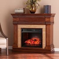 Gracewood Hollow Benson Oak Saddle Stone Look Infrared Electric Fireplace