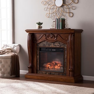 Gracewood Hollow Blevins Walnut Infrared Electric Fireplace