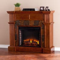 Gracewood Hollow Maracle Tobacco Oak Corner Convertible Faux Stone Electric Fireplace