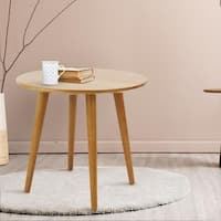 Palm Canyon Julian Mid-century Modern Round End Table with Solid Cherry Top