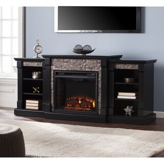 Oliver & James Lotto Black Faux Stone Electric Fireplace with Bookcases