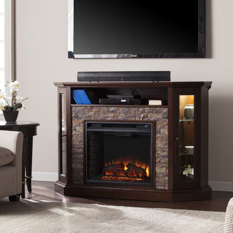 Copper Grove Hermon Faux Stone Corner Convertible Electric Media Fireplace - N/A