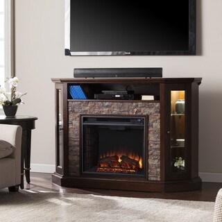 Copper Grove Hermon Faux Stone Corner Convertible Electric Media Fireplace
