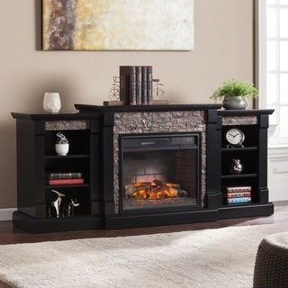 Oliver & James Lotto Black Faux Stone Infrared Electric Fireplace with Bookcases