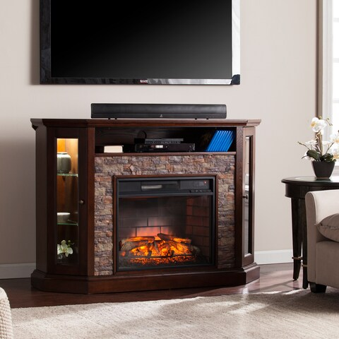 Copper Grove Hermon Faux Stone Corner Convertible Infrared Electric Media Fireplace