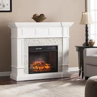 Copper Grove Helianthus White Faux Stone Corner Convertible Infrared Electric Fireplace - N/A