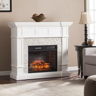 Oliver & James Lochner White Faux Stone Corner Convertible Infrared Electric Fireplace