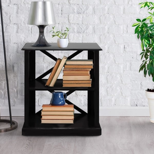 Copper Grove Jaborosa Wood 3-shelf Bookcase with X Detail
