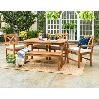 The Gray Barn Bluebird 6-Piece X-Back Acacia Patio Dining Set with Cushions