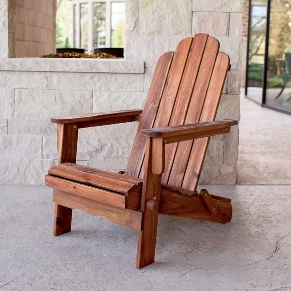 Havenside Home Surfside Acacia Adirondack Patio Chair - Brown