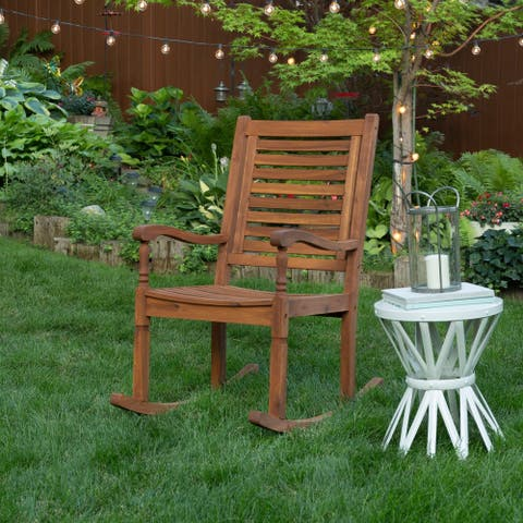 Solid Acacia Wood Rocking Patio Chair - Brown