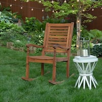 Havenside Home Surfside Solid Acacia Wood Rocking Patio Chair - Brown