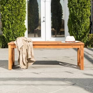 Havenside Home Surfside Acacia Wood X-frame Patio Bench - Brown